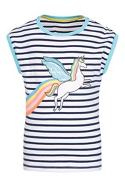 Striped Glitter Unicorn Kids Tee