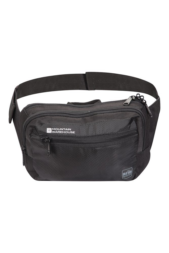 NEW Zips Black Waist Bum Bag Fanny Pack MICROFIBRE Travel Holiday Security
