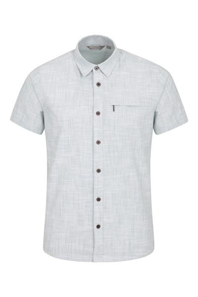 Coconut Slub Texture Mens Short-Sleeved Shirt - Blue