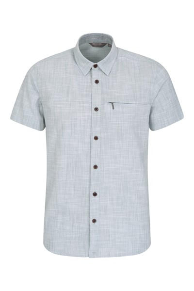 Coconut Slub Texture Mens Short-Sleeved Shirt - Teal
