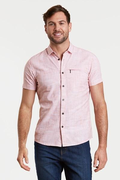 Coconut Slub Texture Mens Short-Sleeved Shirt - Red