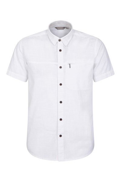 Coconut Slub Texture Mens Short-Sleeved Shirt - White