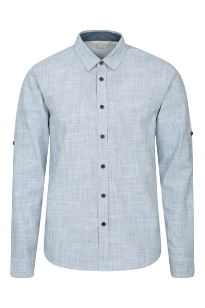 Coconut Textured Mens Long Sleeved Shirt - Blue