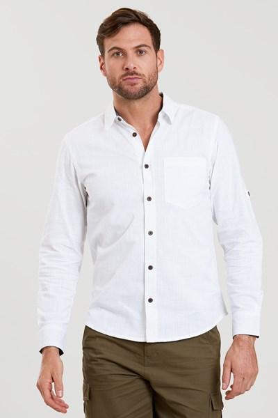 Coconut Textured Mens Long Sleeved Shirt - White
