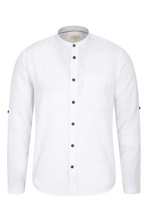 Grandad Linen Blend Long Sleeve Shirt