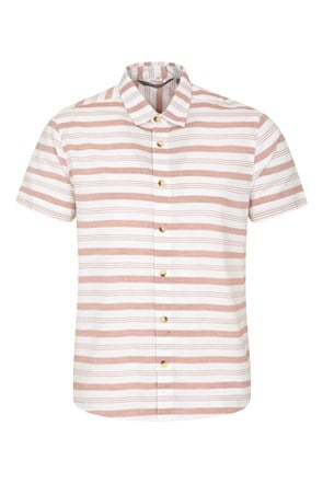 Horizontal Stripe Mens Short Sleeve Shirt