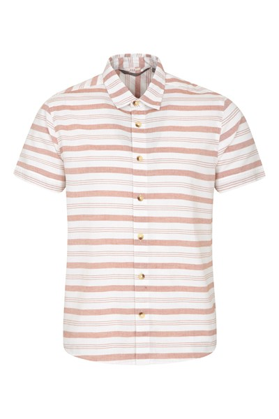 Horizontal Stripe Mens Short Sleeve Shirt - Orange