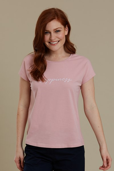 Happiness Embroidered Womens T-Shirt - Pink