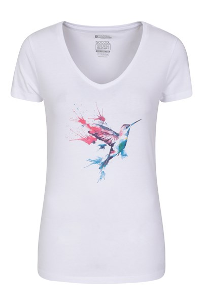Bird Watercolour Printed Womens T-Shirt - White