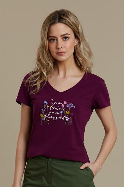 No Rain No Flowers Printed Womens T-Shirt - Purple