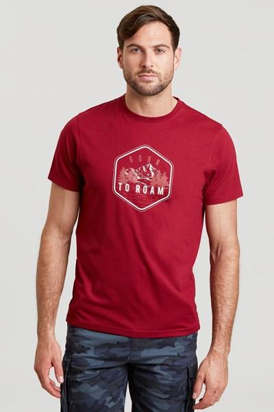 Roam Mens T-Shirt - Burgundy