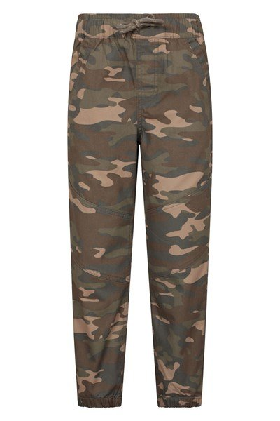 Camo Kids Trousers with Reinforced Knees - Green