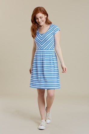Womens A-Line UV Protective Stripe Dress