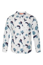 Kids Tropical Print Grandad Shirt