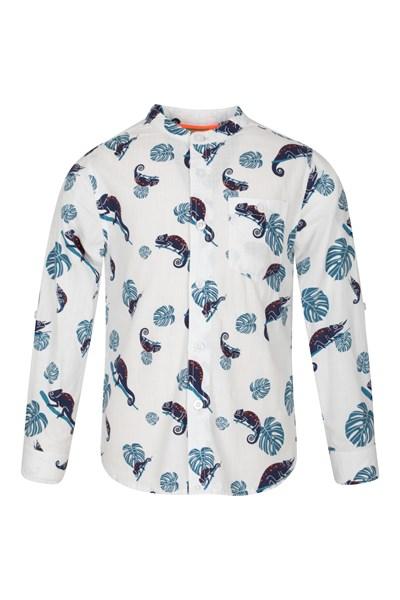 Kids Tropical Print Grandad Shirt - White