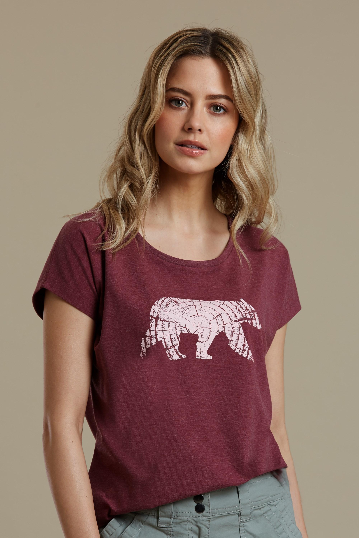Bear Printed - koszulka damska - Burgundy