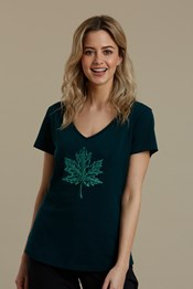 Bright Leaf Printed Womens Tee