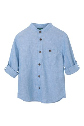 Kids Linen Rich Grandad Shirt