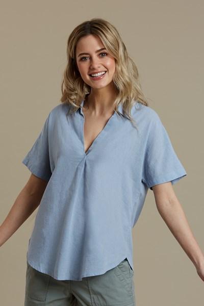 Breeze Linen Womens Short Sleeve Shirt - Blue
