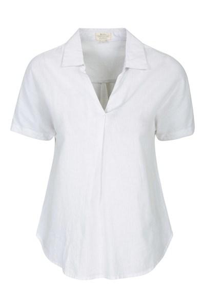 Breeze Linen Womens Short Sleeve Shirt - White