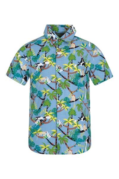 Monkey Printed Kids Shirt - Blue
