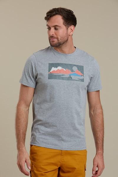 Forest Sunrise Mens T-Shirt - Grey