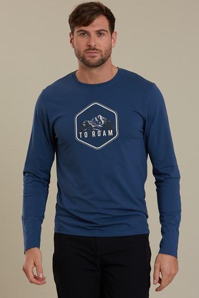Born To Roam Long Sleeved Mens T-Shirt - Navy