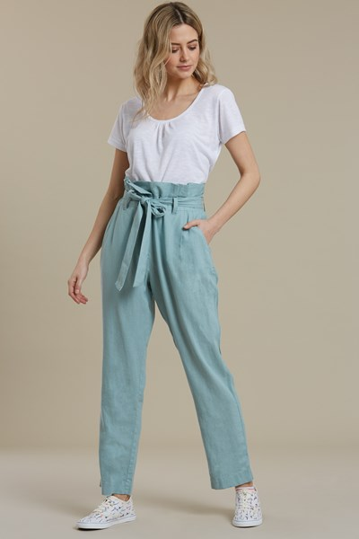 Paperbag Linen Womens Cropped Trousers - Green