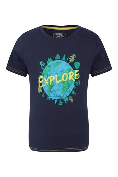 Explore Organic Cotton Kids T-Shirt - Navy