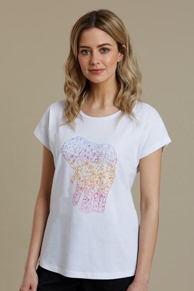 Elephant Detail Printed Womens T-Shirt - White