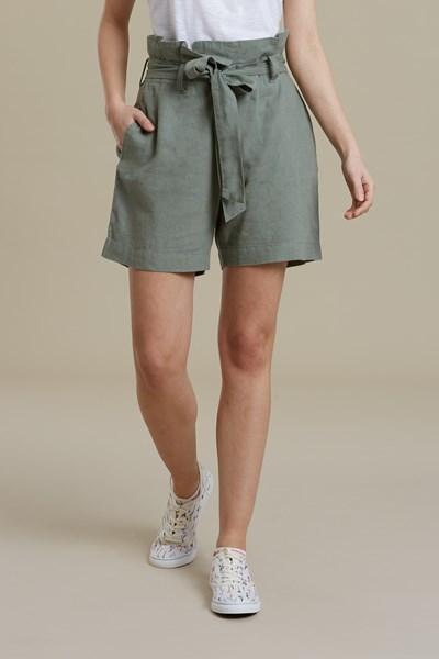 Womens Linen Paperbag Shorts - Green
