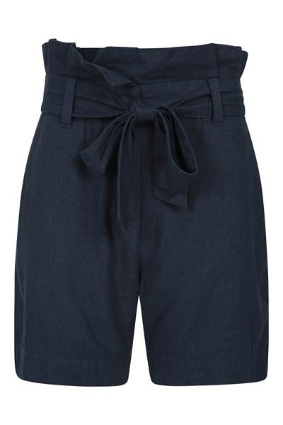 Womens Linen Paperbag Shorts - Navy