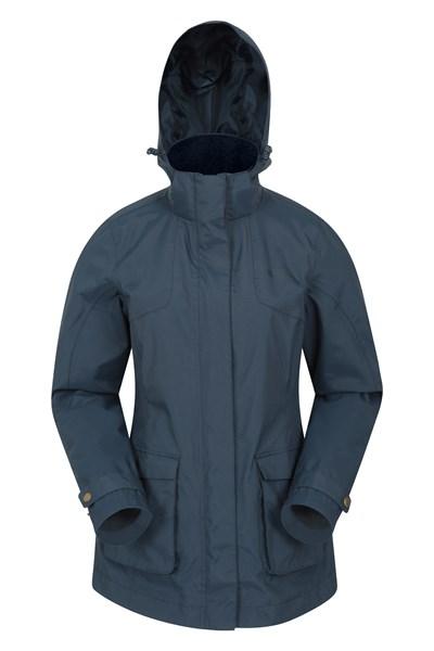 Shetland Womens Waterproof Long Parka Jacket - Navy