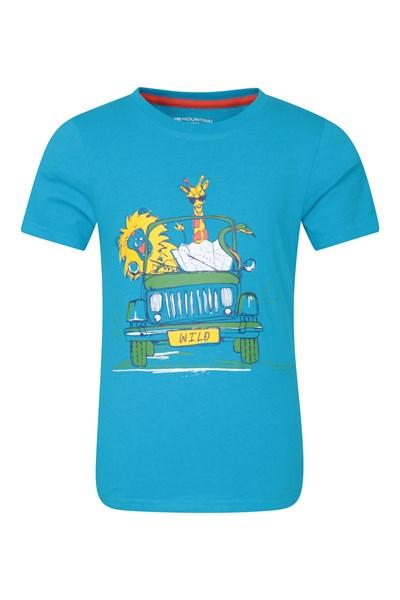 Safari Jeep Kids T-Shirt - Blue