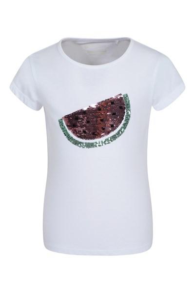 Sequin Watermelon Kids T-Shirt - White