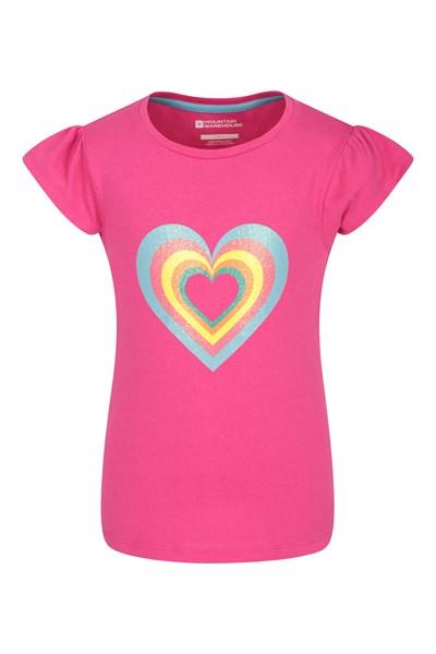 Glitter Hearts Kids T-Shirt - Pink