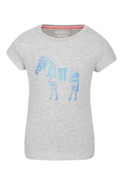 Glitter Zebra Kids T-Shirt - Grey
