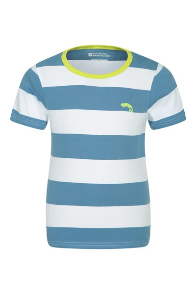Block Stripe Kids T-Shirt - Blue