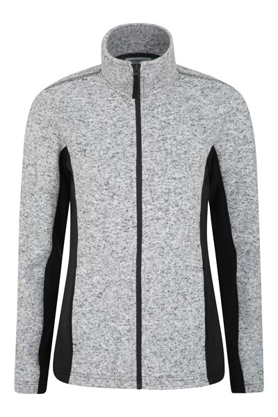 Idris Womens Panelled Full-Zip Fleece - Black