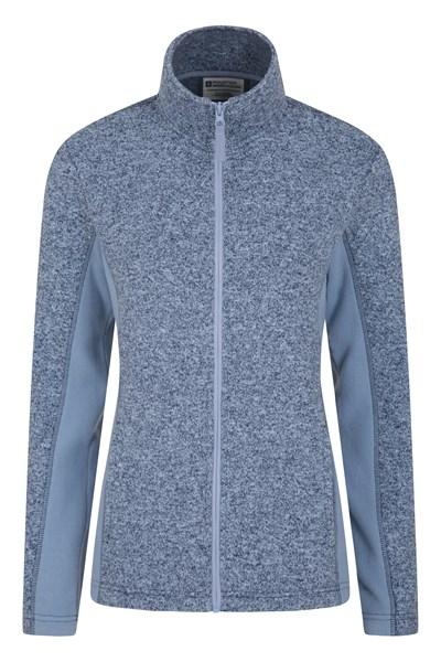 Idris Womens Panelled Full-Zip Fleece - Blue
