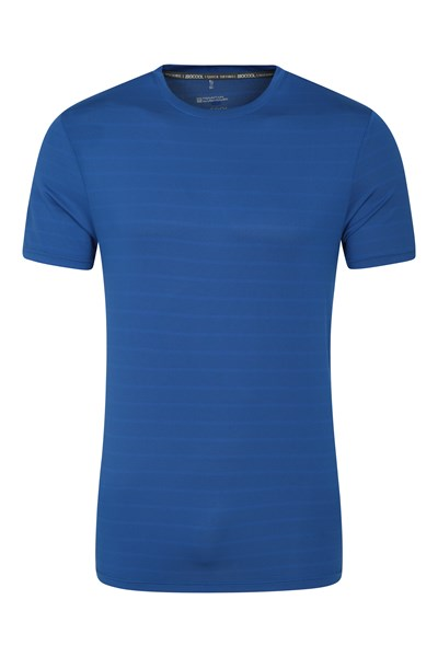 Trace Textured Mens Stripe T-Shirt - Blue