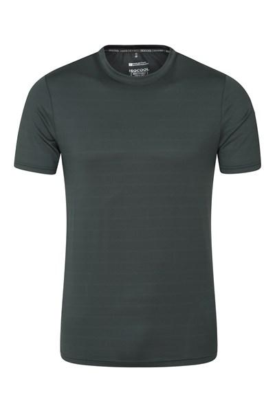 Trace Textured Mens Stripe T-Shirt - Green