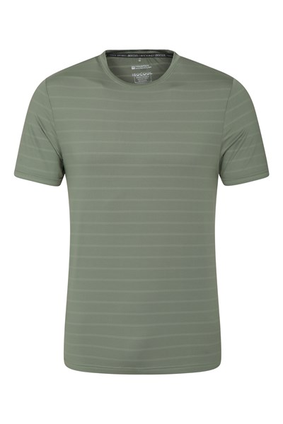 Trace Textured Mens Stripe T-Shirt - Khaki