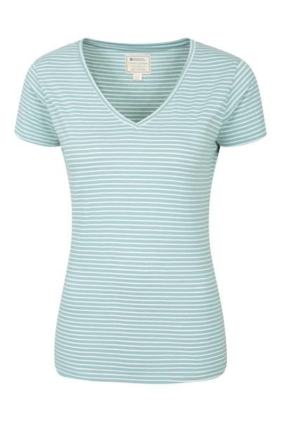 Vancouver Womens V-Neck Stripe T-Shirt - Green