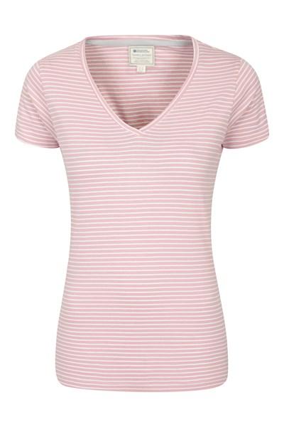 Vancouver Womens V-Neck Stripe T-Shirt - Pink
