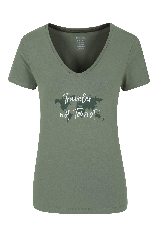 Traveller Not Tourist - koszulka damska - Green