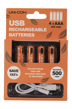 USB Rechargeable Batteries 4 x AAA
