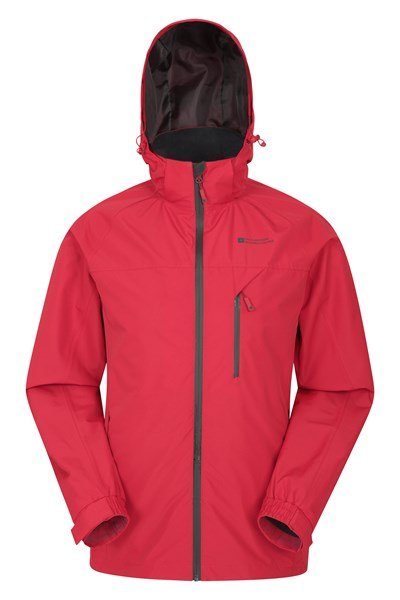 Trail Extreme Stretch Panel Mens Waterproof Jacket - Red