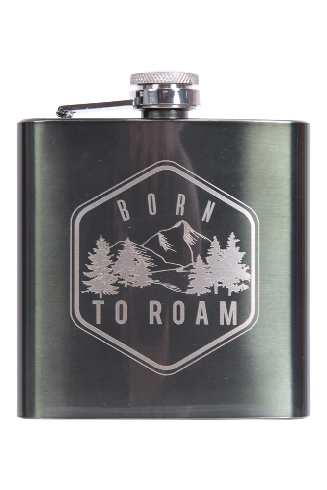 Image of 035887 HIP FLASK 170ML - BORN TO ROAM - Silver