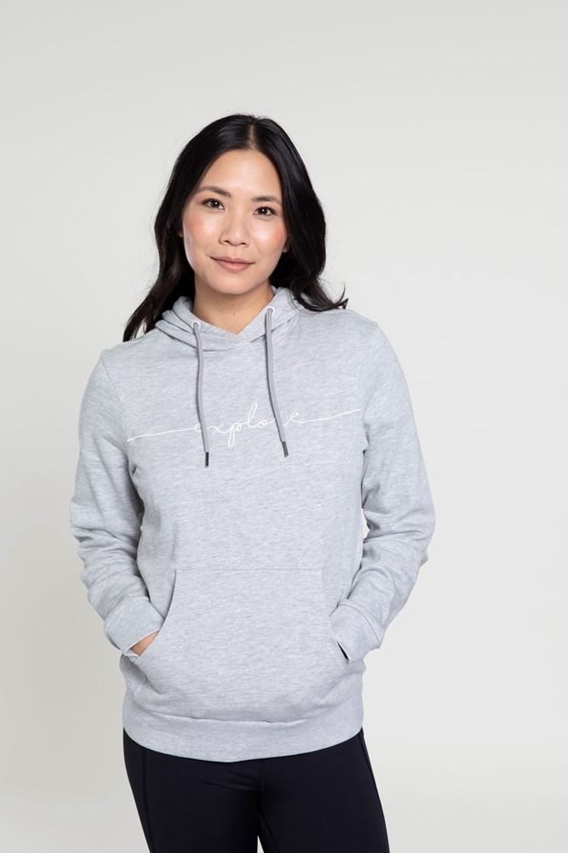 Explore Embroidered - bluza z kapturem damska - Grey